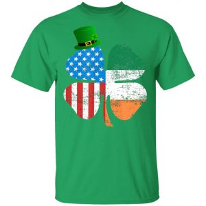 American Flag A Green Leprechauns Hat Saint Patricks Day T-Shirt Long Sleeve