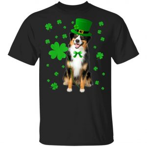 Australian Shepherd St. Patricks Day Shirt, Long Sleeve