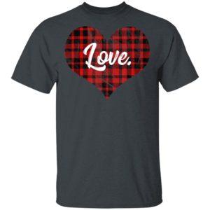 Buffalo Plaid Heart T Shirt Valentines Day Heart Shirt Long Sleeve