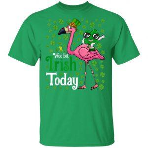 A Wee Bit Irish Today Flamingo St. Patricks Day Shirt, Long Sleeve