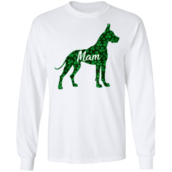 St Patrick Day Shamrock Irish Women Great Dane Dog Mam T-Shirt, Hoodie, Long Sleeve