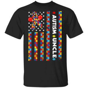 American Flag Uncle Autism Awareness T-Shirt, Long Sleeve, Hoodie