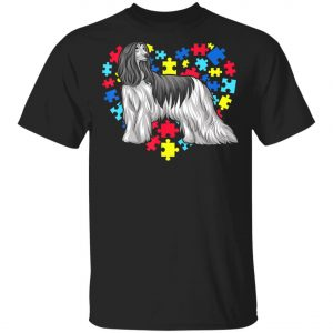 Autism Awareness Afghan Hound Dog Heart T-Shirt, Long Sleeve, Hoodie