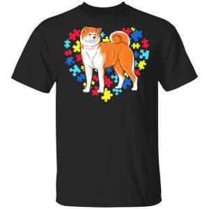 Autism Awareness akita Dog Heart T-Shirt, Long Sleeve, Hoodie
