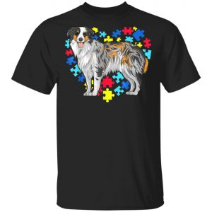 Autism Awareness Australian Shepherd Dog Heart T-Shirt, Long Sleeve, Hoodie