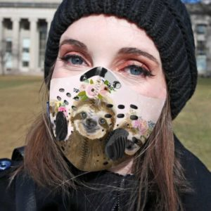 Floral Sloth Face Mask with Filter PM 2.5