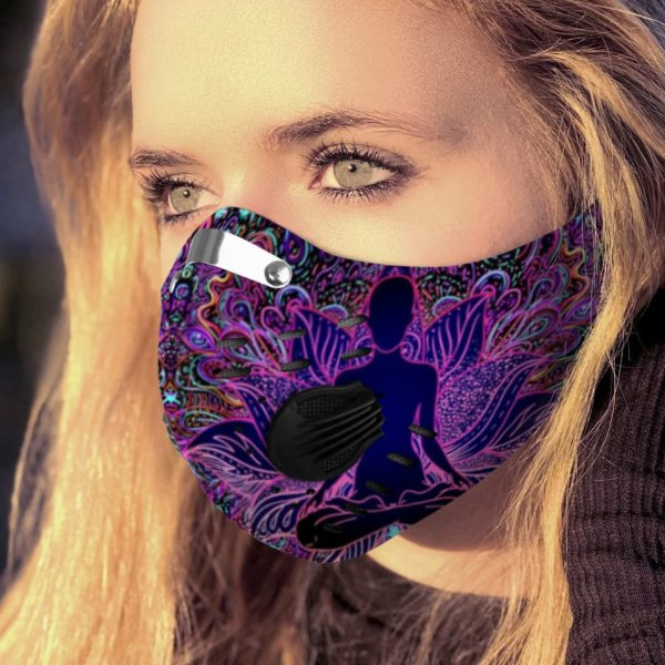 Psychedelic Lotus Yoga Face Mask with Filter PM 2.5