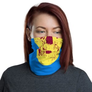 Damien Hirst – Cerulean Blue Pigment Yellow Royal Red Pop Up Skull – Neck Gaiter Bandana