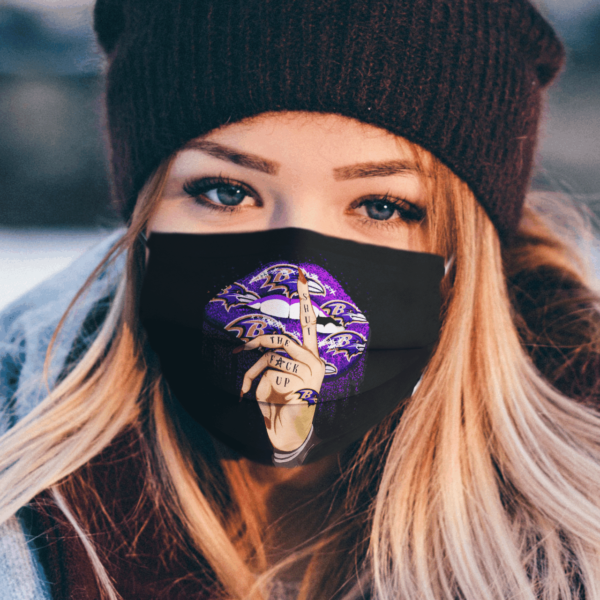 Shut The Fuck Up Fingers Tattoo Glossy Lips Baltimore Ravens Face Mask