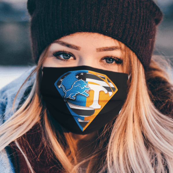 Detroit Lions and Tennessee Volunteers Superman Face Mask