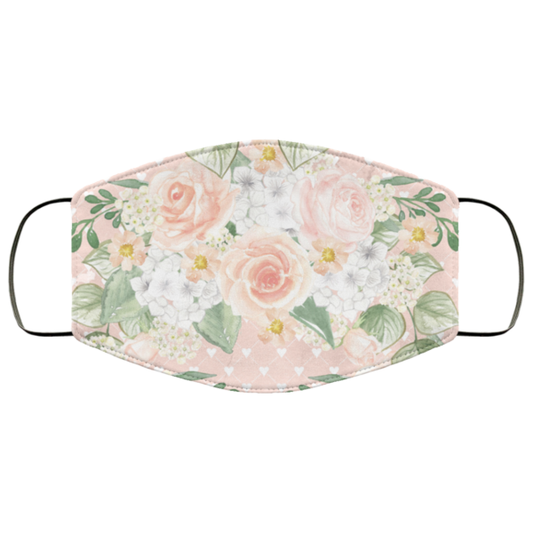 Pink with Love Flowers Face Mask Washable Reusable