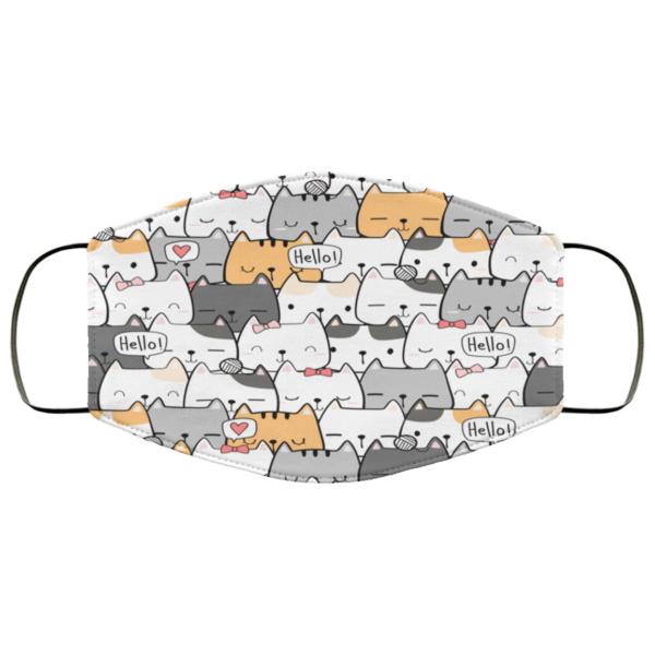 Cute hHand Drawing Cat Face Mask Washable Reusable