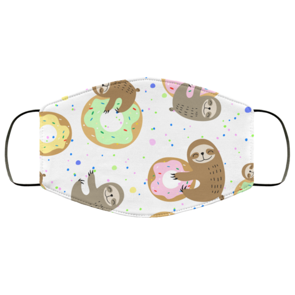 Cute Sloth With Sweet Doughnuts Face Mask Washable Reusable