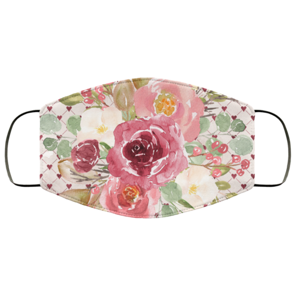 Sweet Watercolor Flowers Face Mask Washable Reusable