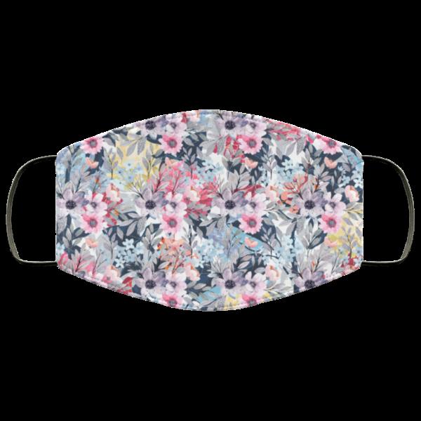 Purple Flowet Floral Watercolor Face Mask Washable Reusable
