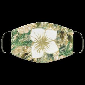 Glitter White Flower Face Mask Washable Reusable