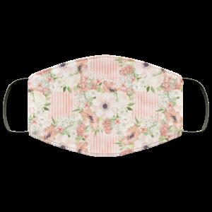 Watercolor Peach Flowers Face Mask Washable Reusable