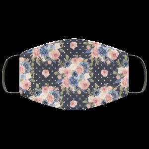 Polka Dot Flowers Face Mask Washable Reusable