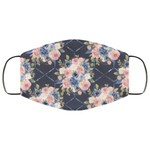 Navy Flower Art Face Mask Washable Reusable