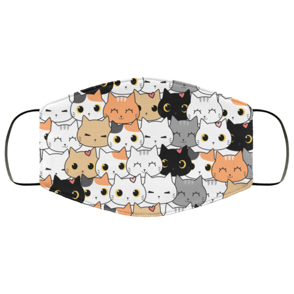 Cute Cat Kitten Cartoon Doodle Face Mask Washable Reusable
