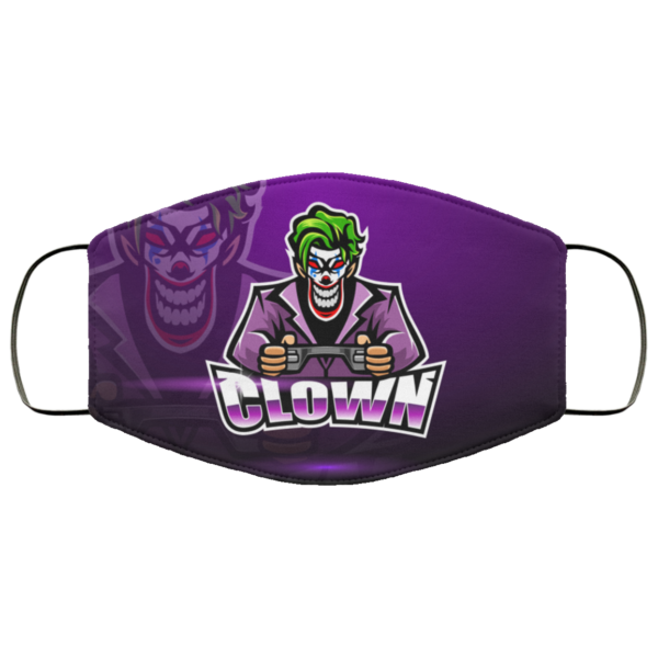 Clown Play Game Face Mask Washable Reusable