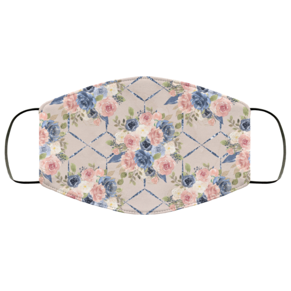 Light Pink Flowers Face Mask Washable Reusable