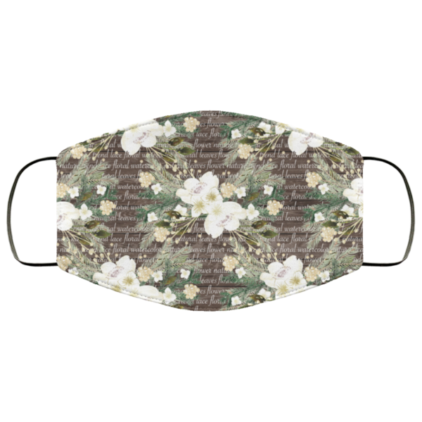 Floral Leaves Watercolor Face Mask Washable Reusable