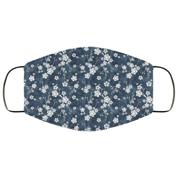 Navy and white cherry blossom Washable Reusable Face Mask Adult