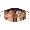 Power Fists Hearts Social Justice Black Lives Matter Face Mask