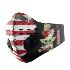 Baby Yoda And Groot Hug Alabama Crimson Tide American Flag Activated Carbon Filter Sport Mask