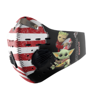 Baby Yoda And Groot Hug Atlanta Falcons American Flag Activated Carbon Filter Sport Mask