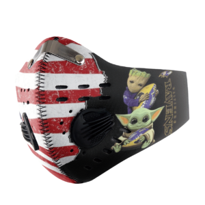 Baby Yoda And Groot Hug Baltimore Ravens American Flag Activated Carbon Filter Sport Mask