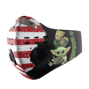 Baby Yoda And Groot Hug Baylor Bears American Flag Activated Carbon Filter Sport Mask