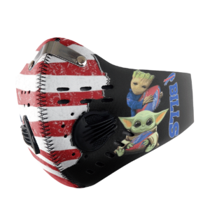 Baby Yoda And Groot Hug Buffalo Bills American Flag Activated Carbon Filter Sport Mask