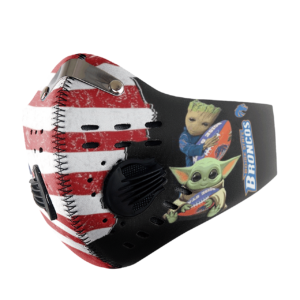 Baby Yoda And Groot Hug Boise State Broncos American Flag Activated Carbon Filter Sport Mask