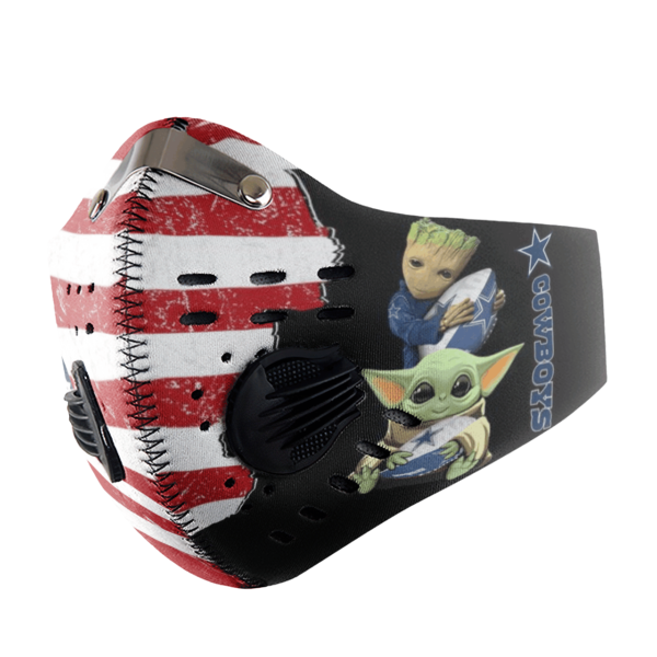 Baby Yoda And Groot Hug Dallas Cowboys American Flag Activated Carbon Filter Sport Mask