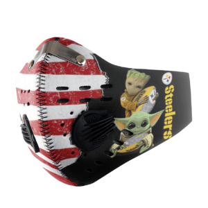 Baby Yoda And Groot Hug Pittsburgh Steelers American Flag Activated Carbon Filter Sport Mask