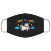 Love Is Love Unicorn Face Mask LGBT Pride Flag Mask