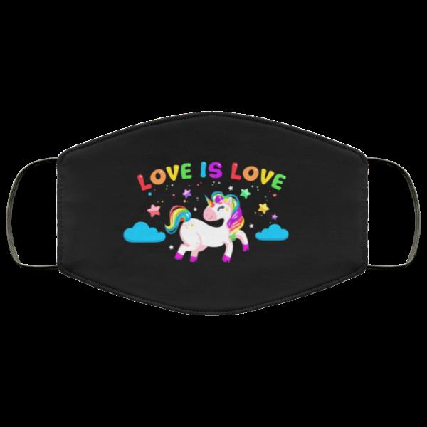 Love Is Love Unicorn Face Mask LGBT Pride Flag Mask