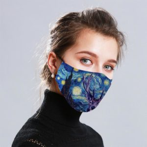 Starry Deer Van Gogh Cloth Face Mask Reusable