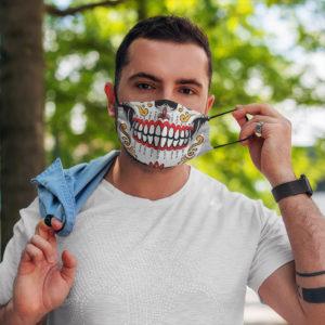 Sugar Skull Calavera BW Face Mask