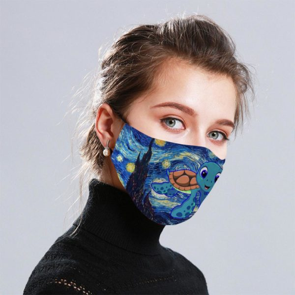 Starry Sea Turtle Van Gogh Cloth Face Mask Reusable