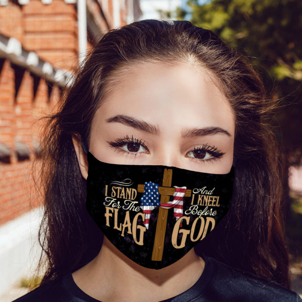 I Stand For The Flag And Kneel Before God Face Mask