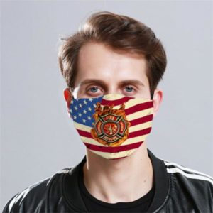 Firefighter Logo America Flag Cloth Face Mask 1