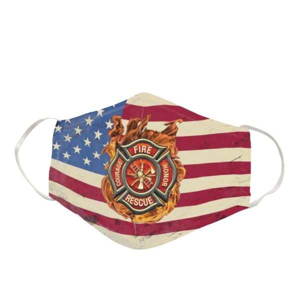Firefighter Logo America Flag Cloth Face Mask