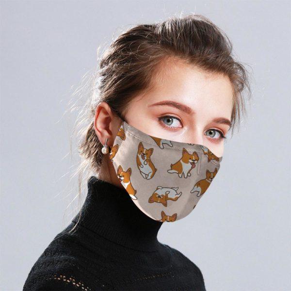 Corgi Cloth Face Mask Reusable