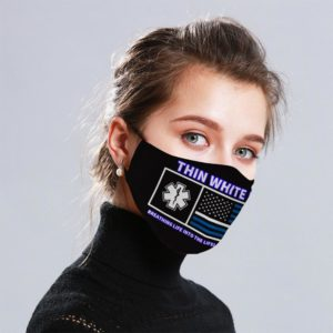 Thin White Line Cloth Face Mask Reusable