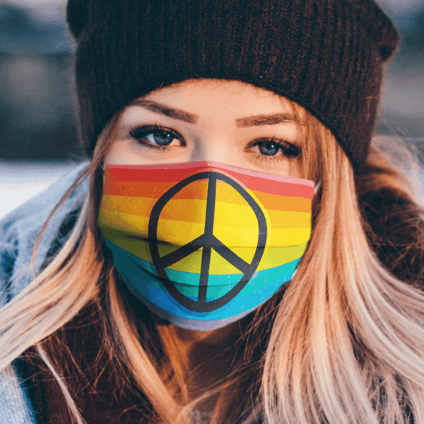 Retro Rainbow Flag Summer Spring Decorative Pride Peace Love Sign Flag Face Mask 1