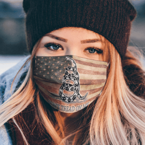 Vintage American Flag Face Mask Black Coiled Rattle Snake Dont Tread On Me Flag 1
