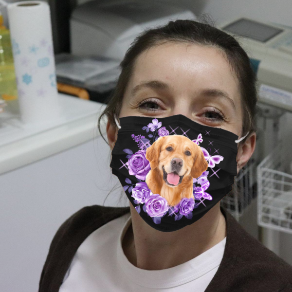 Golden Retriever With Roses And Butterflies Cloth Face Mask